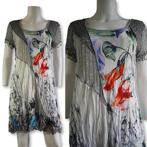 NEW Fleur De Lis shift dress textured pleats L